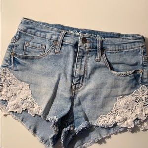 mossimo lace jean shorts
